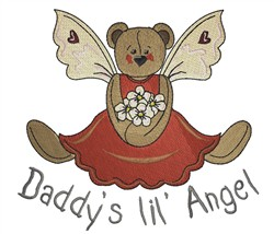 Daddys Angel Bear embroidery design