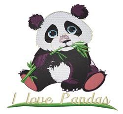 I Love Pandas embroidery design