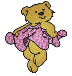 Teddy In Frilly Dress embroidery design