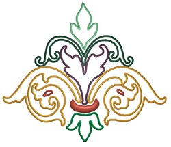 Colored Flourish Outline embroidery design