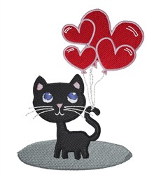 Kitty And Heart Balloons embroidery design