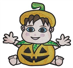 Baby In Pumpkin Costume embroidery design