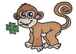 Baby Monkey With Clover embroidery design