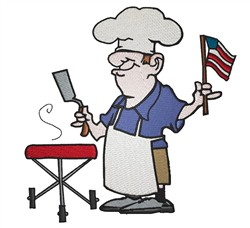 Patriotic BBQ Guy embroidery design