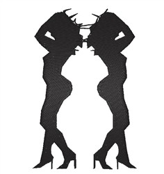 Nude Women Silhouettes embroidery design