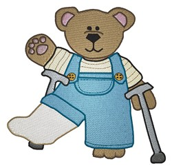 Teddy On Crutches embroidery design