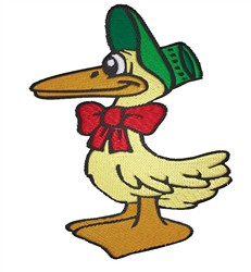 Duck in Bonnet embroidery design