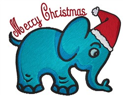 Blue Elephant with Santa Hat Merry Christmas embroidery design
