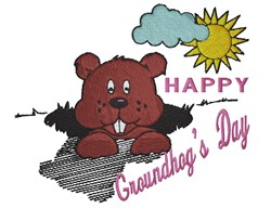 Happy Groundhogs Day embroidery design