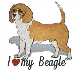I Love My Beagle embroidery design