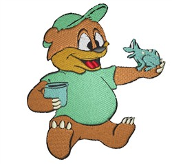 Bear Holding Frog embroidery design