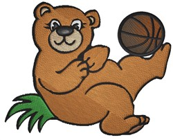 Bear With Basketball embroidery design