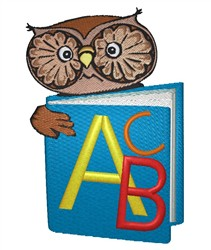 Owl With Schoolbook embroidery design
