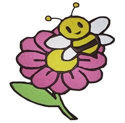 Bee On Flower embroidery design