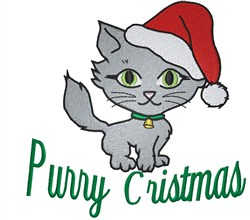 Purry Christmas embroidery design