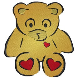 Teddy With Hearts embroidery design