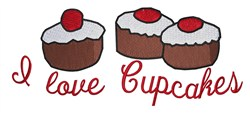 I Love Cupcakes embroidery design