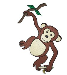 Monkey With Banana embroidery design