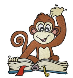Monkey Reading embroidery design