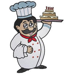 Chef With Cake embroidery design
