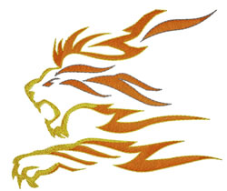 Lion Flame embroidery design