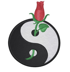 Ying Yang Rose embroidery design