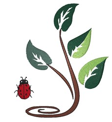 Branch With Ladybug embroidery design