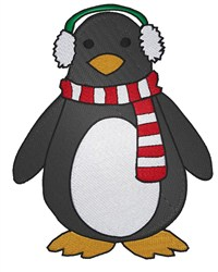Penguin With Earmuffs embroidery design
