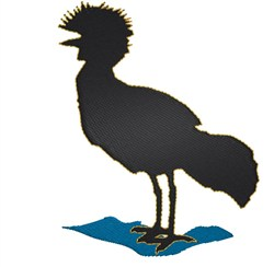 Crowned Crane embroidery design