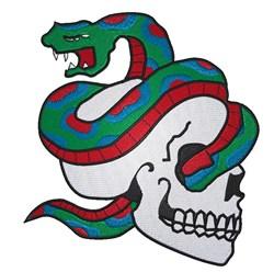 Snake Through Skull embroidery design