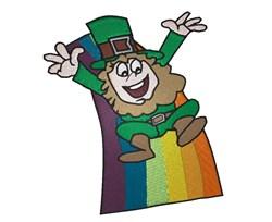 Leprechaun On Rainbow embroidery design