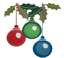Holly And Ornaments embroidery design