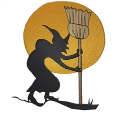 Witch With Broom embroidery design
