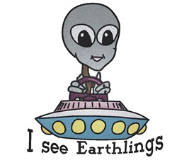 I See Earthlings embroidery design