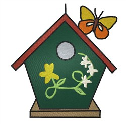 Birdhouse And Butterfly embroidery design
