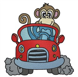Monkey Driving embroidery design
