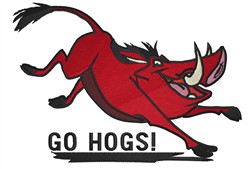Go Hogs embroidery design