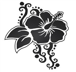 Hibiscus Silhouette embroidery design
