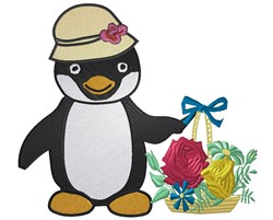 Penguin With Flowers embroidery design