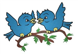 Two Blue Birds embroidery design