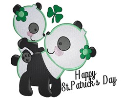 St Pattys Panda Bears embroidery design