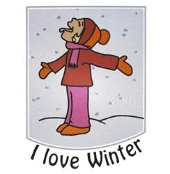 I Love Winter embroidery design