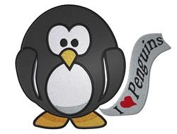 I Love Penguins embroidery design