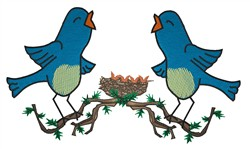 Two Bluebirds embroidery design