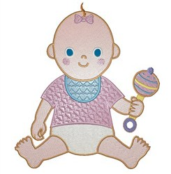 Baby With Rattle embroidery design