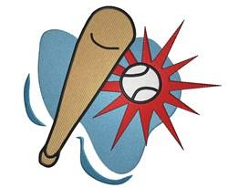 Baseball and Bat embroidery design