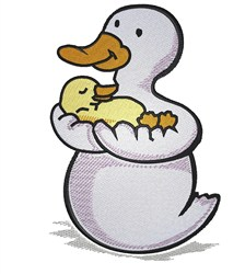 Duck & Baby embroidery design