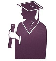 Graduate silhouette embroidery design