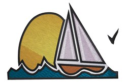 Sailboat And Sun embroidery design