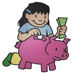 Girl & Piggy Bank embroidery design